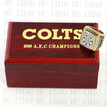 Year 2009 AFC Indianapolis Colts American Football Championship Ring 10-13Size Fans Gift With High Quality Wooden Box