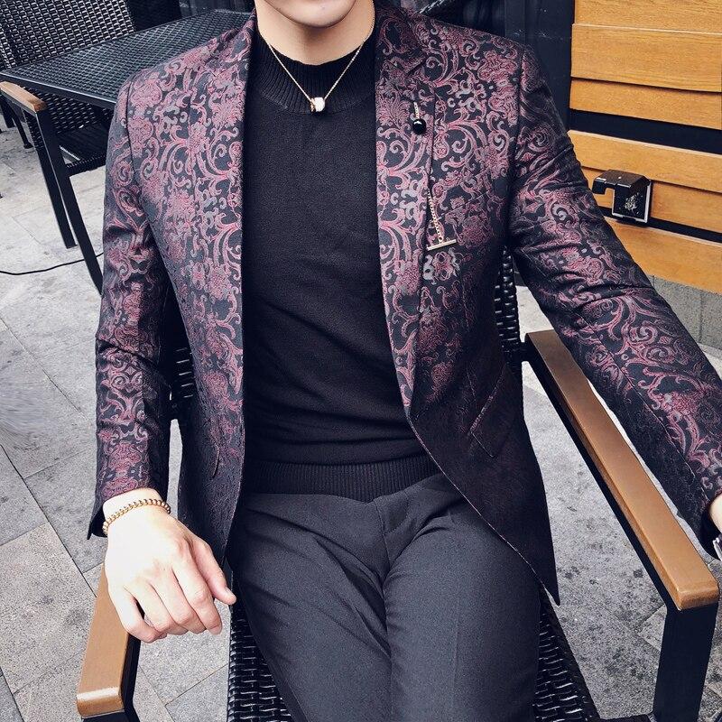 Noce Homme Hommes Marque coffee Black Blazer Jacquard Blazers Britannique Occasionnels Fit Mâle Unique Poitrine Slim Mode Luxe Vêtements Tissu dark Red De QrdsthCxB