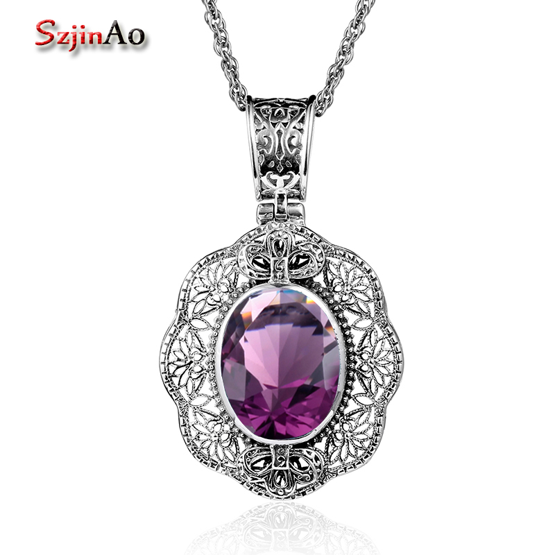 Szjinao Hot Vintage Custom 925 Sterling Silver Pendant Necklaces Amethyst Plower Necklaces For Women Jewelry Wholesale