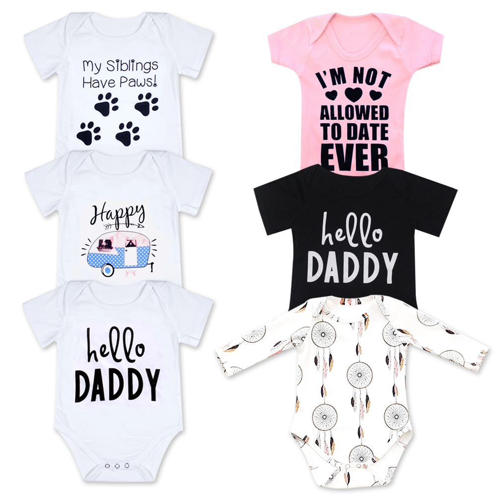 2018 Novorojenček Veseli rojstni dan očka Beli kratki rokavi Otroške deklice Polna oblačila za dojenčke Obleke Jumpsuits Kombinezone Onesie
