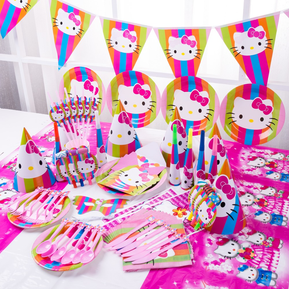Happy Birthday Kids Hello Kitty Baby Shower Wedding Festival Party Decoration Set Disposable Tableware Set Plates Supplier Aliexpress