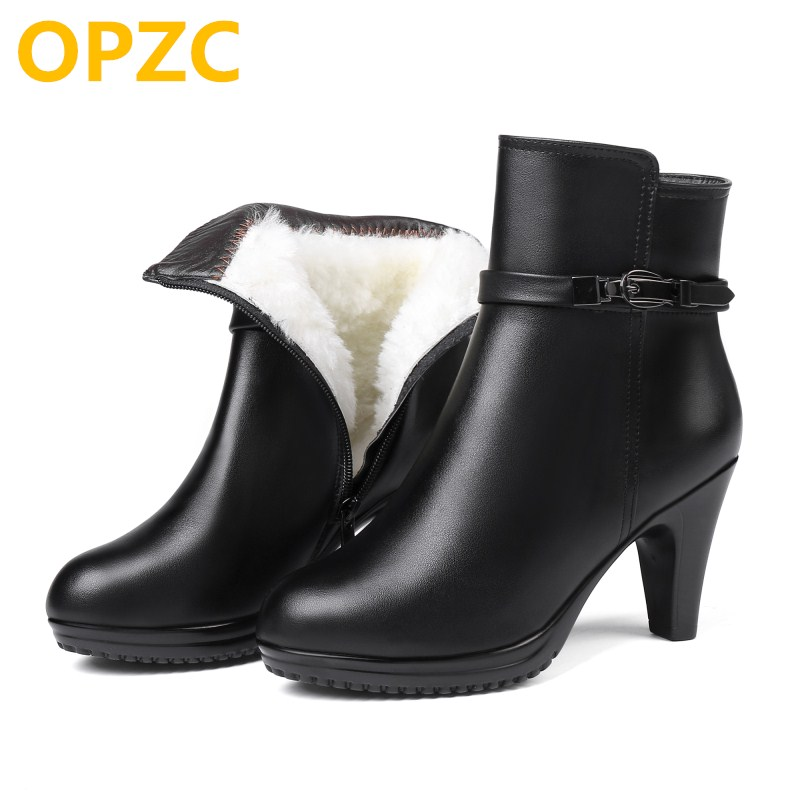 OPZC Women ankle boots 2018 new genuine leather women winter boots, wool warm women Martin boots, high-heeled women snow boots 2017 new women s genuine leather boots motorcycle boots rough with in tube high heeled boots thick wool really pima ding