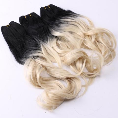 Extensão do Cabelo Pacote de Cabelo Resistente ao Calor Reyna Costurar Cabelo Ombre Dois Tons Ondulado Sintético Tecer 100% no