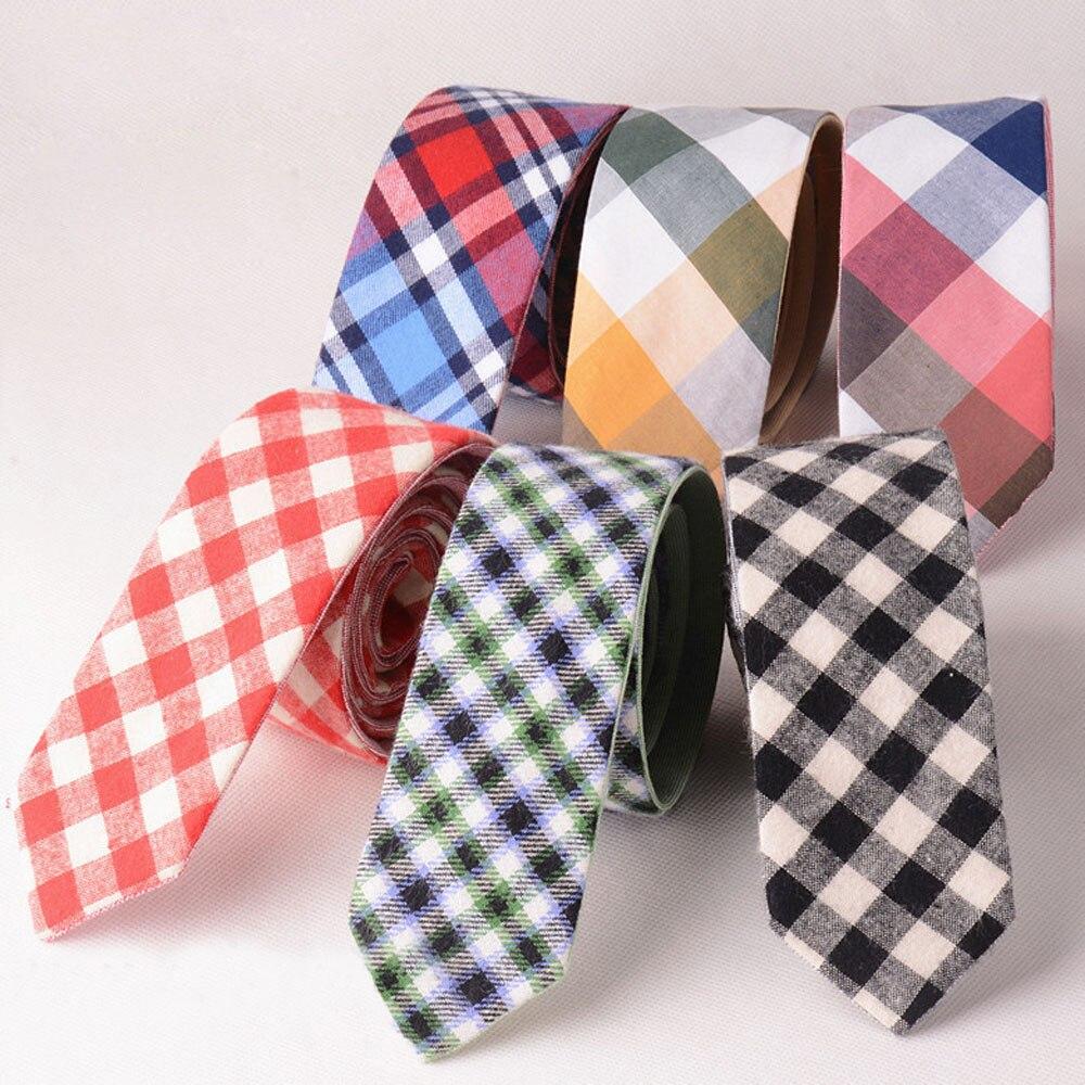 Men British Grids font b Tartan b font Plaid Checks Neck Tie Cotton Narrow Skinny Neckties