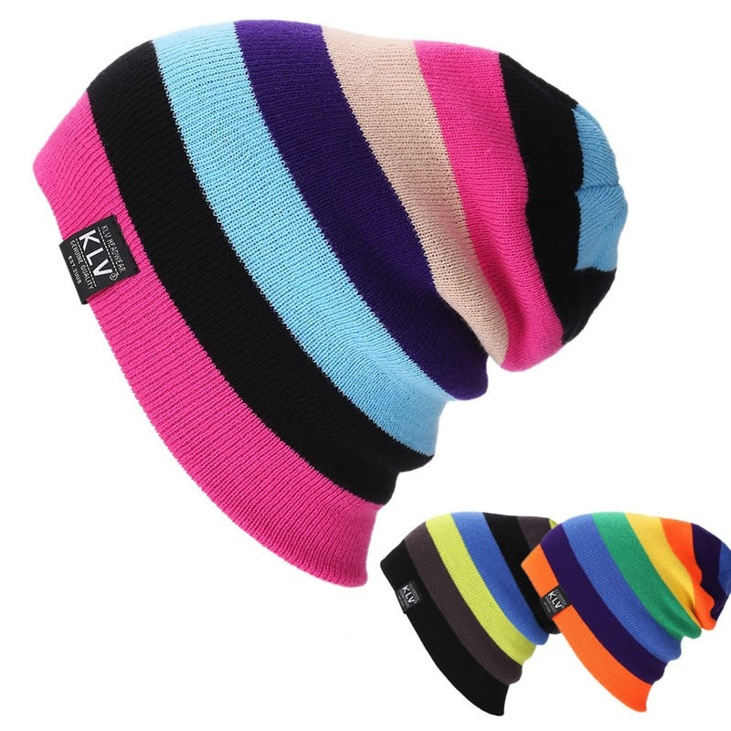 Multicolor Lattice Stitching Wool Hat Autumn and Winter Warm Ski Hat Knitting Hat Hip Hop Hat Rainbow  Cap  Adult Woolen Wild the new children s cubs hat qiu dong with cartoon animals knitting wool cap and pile
