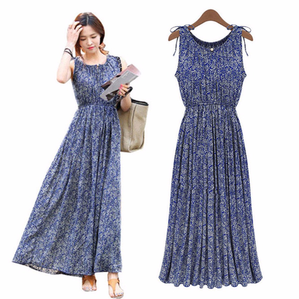 2019 <font><b>Vintage</b></font> Floral Print Women Summer Bohemia Sleeveless Dresses Boho Long <font><b>Maxi</b></font> Beach Sundress Dress <font><b>Vestidos</b></font> image