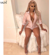 VAZN Autumn 2019 Top Quality High Casual Design Women Mini Jumpsuits Solid Full Sleeve Lady Bodycon