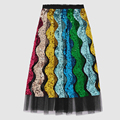 2017 High Quality Summer Fashion Runway Womens Skirts Luxurious Wave Striped Sequined Pleated mid calf Gauze Skirt faldas mujer