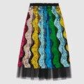 2017 Pasarela de Moda de Verano Para Mujer Faldas de Alta Calidad de Lujo de Onda Rayas Con Lentejuelas Plisado media pantorrilla Gasa Falda faldas mujer