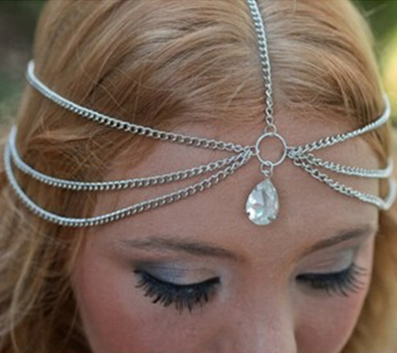 2016 Hot Multilayer Metal Silver Plated Head Chain Hair Jewelry Tassels Water Drop Crystal India Hair