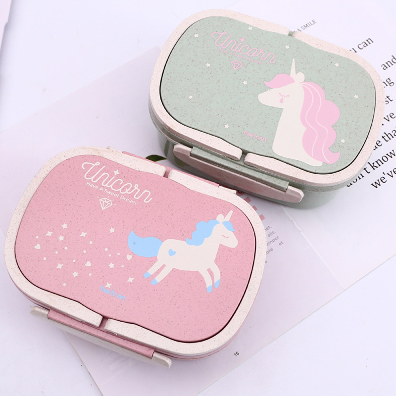 Cokytoop Student Lunch Box for Kid Eco-Friendly Food Container Storage Bento Boxes 2 Layer Handle Broodtromme Unicorn