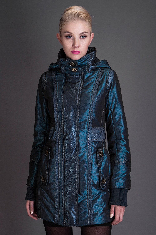 ФОТО Basic Editions Autumn Fall Metallic Silk Fabric Cotton Coat Jacket with Hood Zipper Side Pocket  - JQM08213