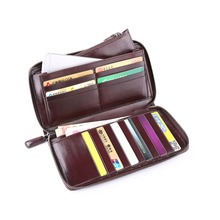 TERSE_Large capacity handmade long wallet with phone pocket trendy clutch bag commuter leather purse engraving service