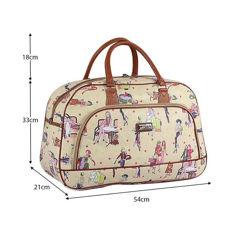 Women Waterproof PU Leather Travel Duffle Bag Large Portable Print Female Tote Bag Casual Handbags For Ladies