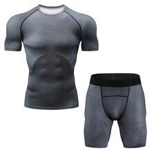 Новый Фитнес Компрессионный Набор Футболка мужская 3DMMA Печати Crossfit Мышечная Рубашка Колготки