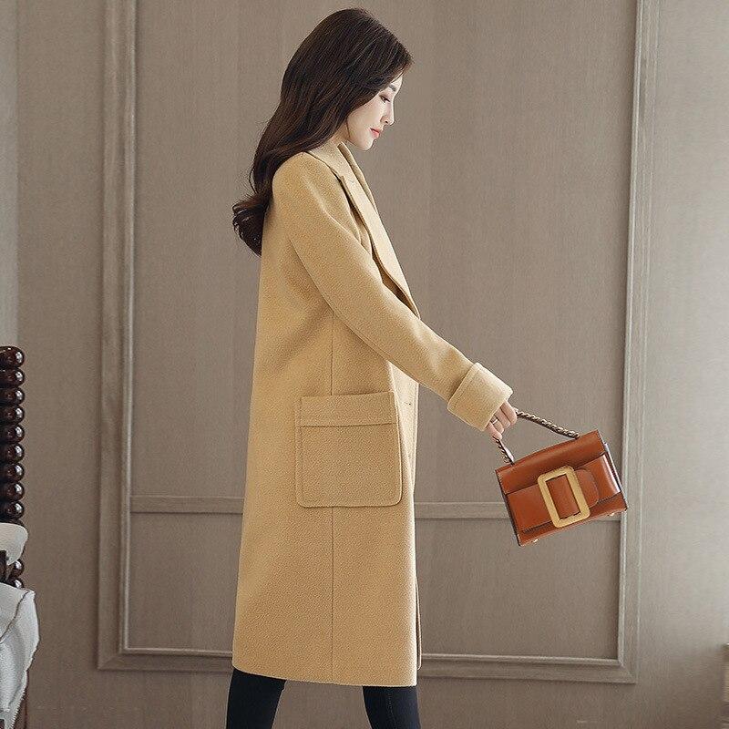Manteau Double Mélange Femmes Poches Angleterre Laine De Breasted Style Long Pour Mode Femme Veste Camel Coréen Solide Des Rwqw4I