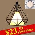 Preto moderno luzes pingente de gaiola de ferro retro minimalista Escandinavo loft lâmpada pirâmide de gaiola de metal com diodo emissor de luz do bulbo