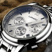 LIANDU Men S Business Full Steel Quartz Watch 24 Hours Function Chronograph Luminous Engraved Dial Casual