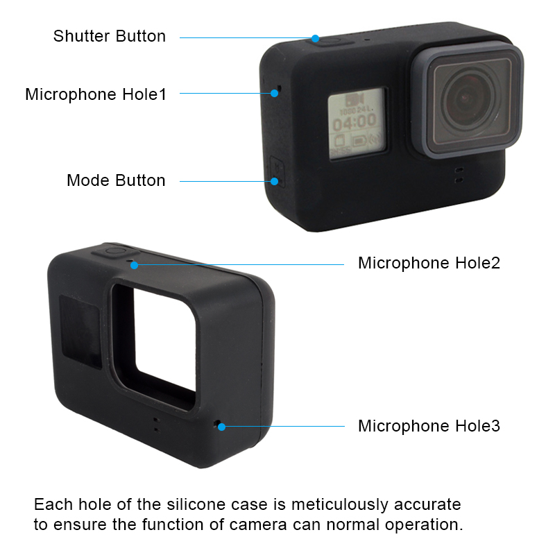 GoPro Hero 7 6 5 Black Action Camera Case Protective Silicone Case Skin +Lens Cap Cover for Go Pro Hero 5 6 7 Black Accessories