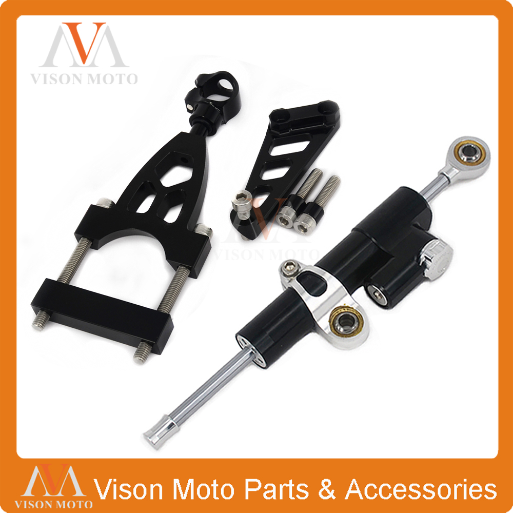 CNC Steering Damper Set Stabilizer With Bracket Mounting Assemblly For HONDA CB400 VTEC 99 00 01 02 03 04 05 06 07 08 09 10-12 рычаги тросики и кабели для мотоцикла rctoper honda vtr1000f firestorm 98 99 00 01 02 03 04 05