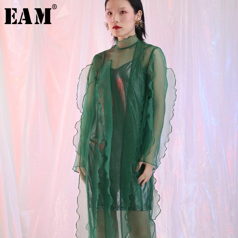 aac09890585 En Vert Col Femmes Perspective Printemps eam À Été Color Robe Green Haut  Mode Je558 2019 Manches Dimensions Volants Nouveau pink Longues Trois Noir  Sgwwqx7Z