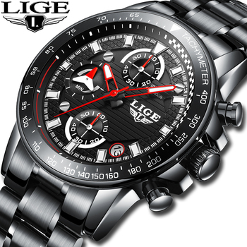 LIGE Mens Watches Top Brand Luxury Fashion Business Quartz Watch Men Sport Full Steel Waterproof Black Clock Relogio Masculino relogio masculino lige mens watches top brand luxury fashion business quartz watch men sport full steel waterproof black clock