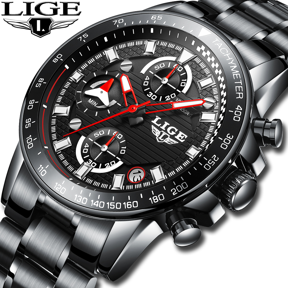 LIGE Top Luxury Brand Watch Men Analog Chronograph Quartz Wrist Watches outdoor leisure Automatic men's watch Relogio Masculino