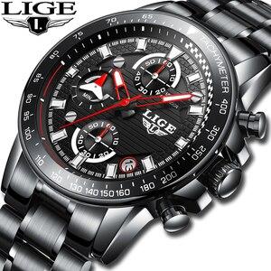 Image 1 - Lige relógio esportivo luxuoso de quartzo, masculino totalmente em aço à prova dágua preto