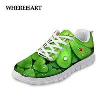 WHEREISART Women Shoes 2019 Summer Creative Green Leaves Printed Casual Breathable Sneakers Ladies Walking Flats Tenis Feminino