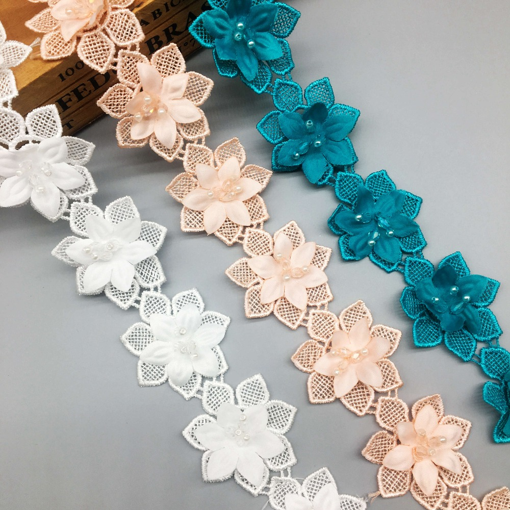 1yd Flower Pearl Lace Edge Trim Wedding Bridal Dress Ribbon Applique Sewing DIY