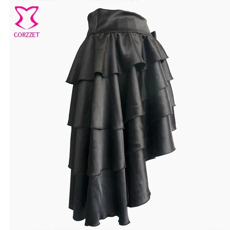 Falda gótica asimétrica con capas de satén negro con volantes - Ropa de mujer - foto 2