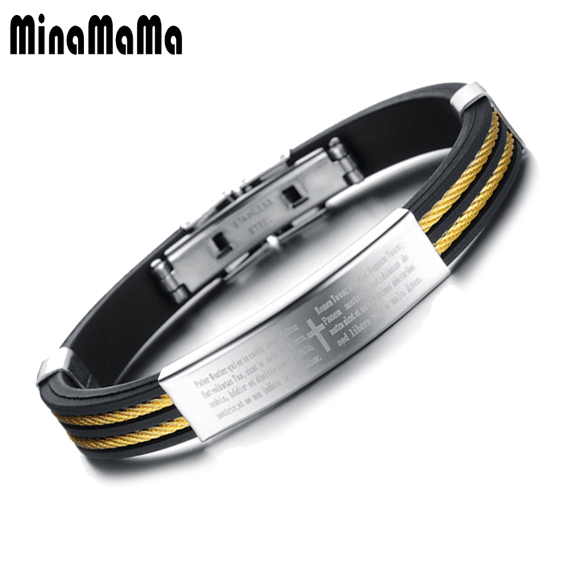 Catholic Christian Stainless Steel Wire Holy Bible Cross Cuff Bracelets For Women Men Silicone Male Bracelets Christmas Gift