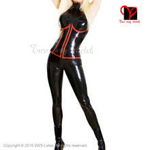 Black Sexy Latex Catsuit Sleeveless bust trims false corset Sleeveless Rubber bodystocking Gummi bodysuit Jumpsuit Jodhpurs XXXL