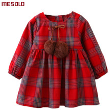Girls Dress 2017 New Autumn Brand Girls Clothes England Style Plaid Fur Ball Bow Design Baby
