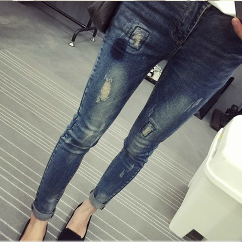 Maternity Fashion Hole Jeans Spring Plus Size Cotton Pregnant Clothing Denim Pants Autumn Large Jeans Trouses plus size ripped pencil jeans