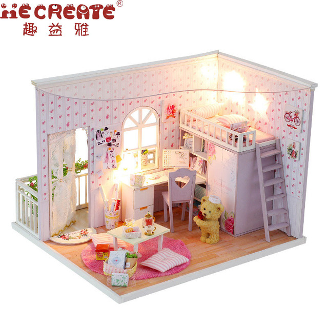 cheap dollhouse furniture. New Arrival Assembling DIY Wood Dollhouse Kit Miniature With Furniture Doll House Room The Best Time Cheap O