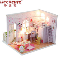 New Arrival Assembling DIY Wood Dollhouse Kit Miniature With Furniture Doll House Room The Best Time Birthday Gift For Girls