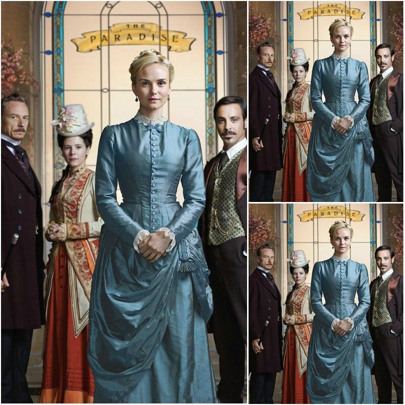 Klientui užsakyti 19 amžiaus BBC Rojaus moterys Tafetas Derliaus kostiumai Viktorijos pilietinio karo suknelė Suknelės suknelės US4-36 C-165