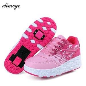 Aimoge tênis com rodas rolo sapatos de patinação patins tênis para o sexo masculino meninas meninos crianças presentes