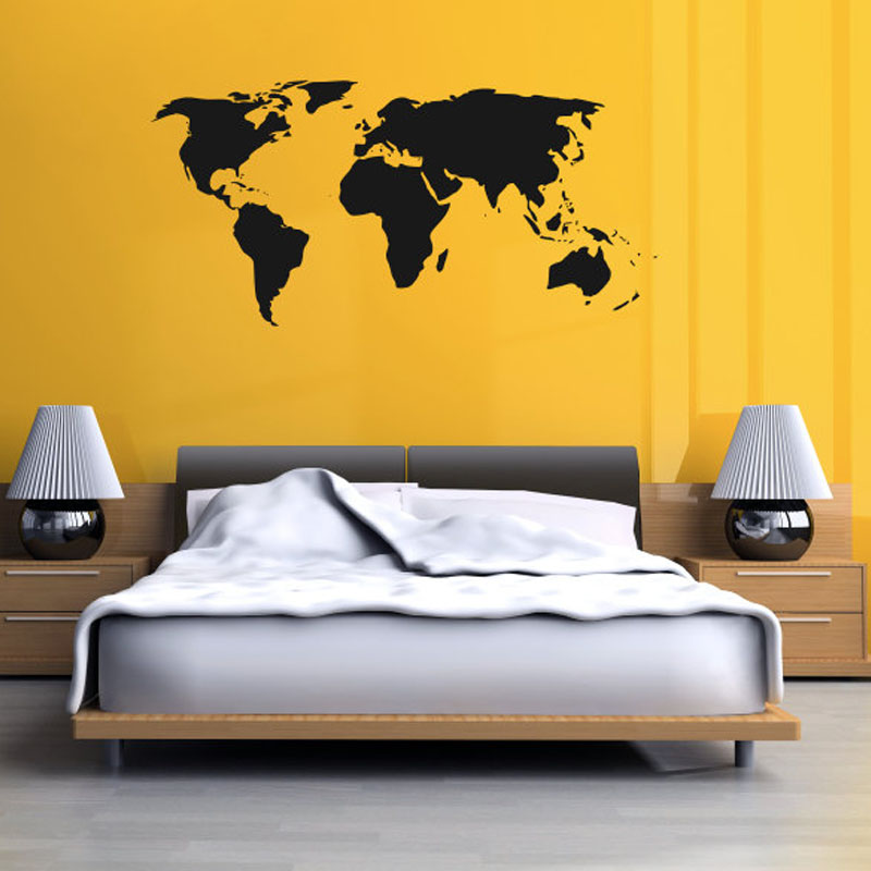 Dctop World Map Wall Stickers Bedroom Removable Diy Home