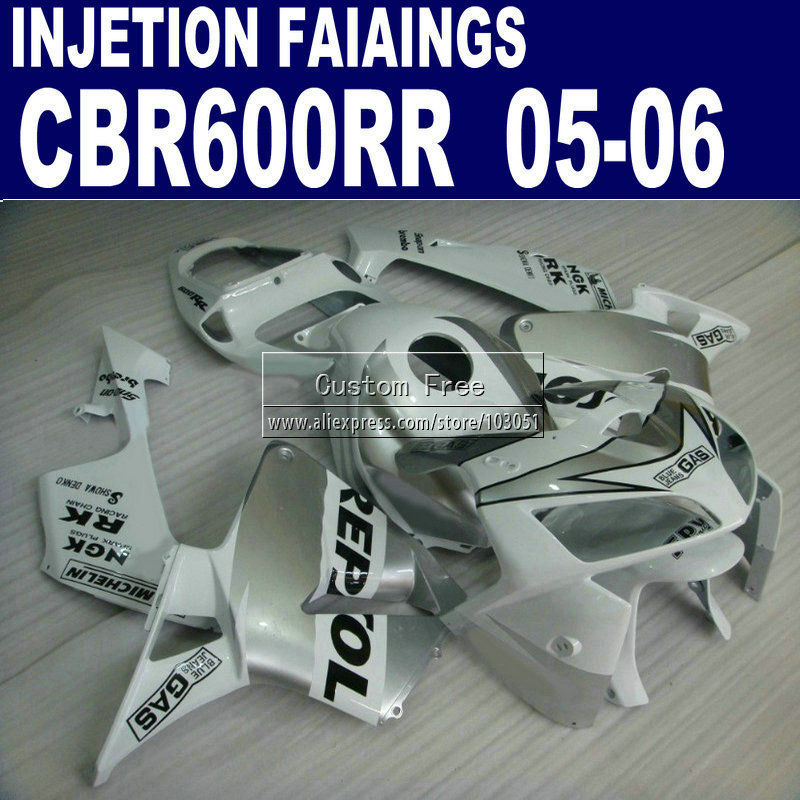 road Injection  set for Honda white repsol CBR600RR fairing CBR 600RR 2005 2006 CBR 600 RR 05 06 motorcycle fairings parts custom injection motorcycle fairings set for honda 06 07 cbr 1000rr 2006 2007 cbr1000rr white repsol aftermarket fairing kits