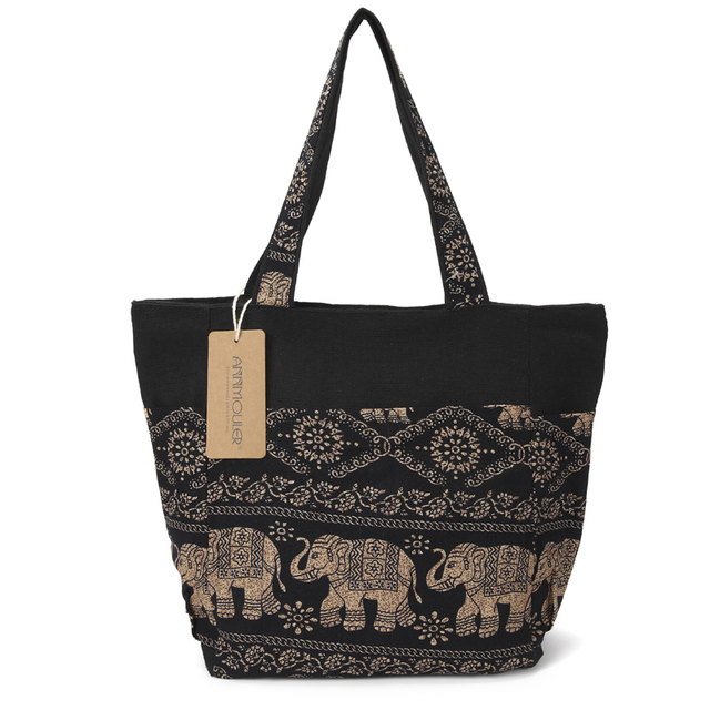 Large Capacity Canvas Tote Bag Elephant Printed Women Tote Bags Canvas Patchwork Handbags Top Handle Cotton Totes 2