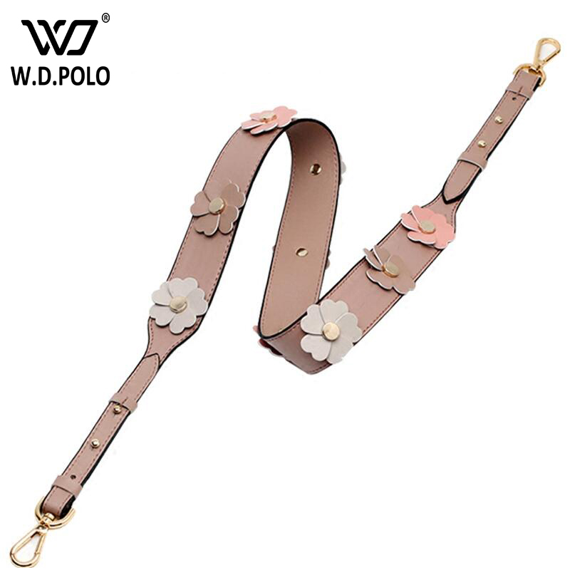 WDPOLO 2017 New flowers leather lady shoulder bags strap adjustable women handbag belts easy matching girls stripe yy006