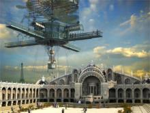 steampunk mechanical building palace 4-Size Home Decoration Canvas Poster Print