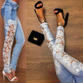 Sexy Womens Slim Fit Skinny Lace Crochet Jeans Size 6 8 10 12 14 Designer Denim