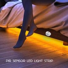 PIR датчик движения шкаф лестница Прихожая кровать лампа SMD2835 СВЕТОДИОДНЫЙ под шкаф ночной Светильник гибкая светодиодная лента 12 В лента EU US