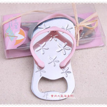 10pcs Flip flop wine bottle opener with starfish design wedding favor guest gift grass ribbon