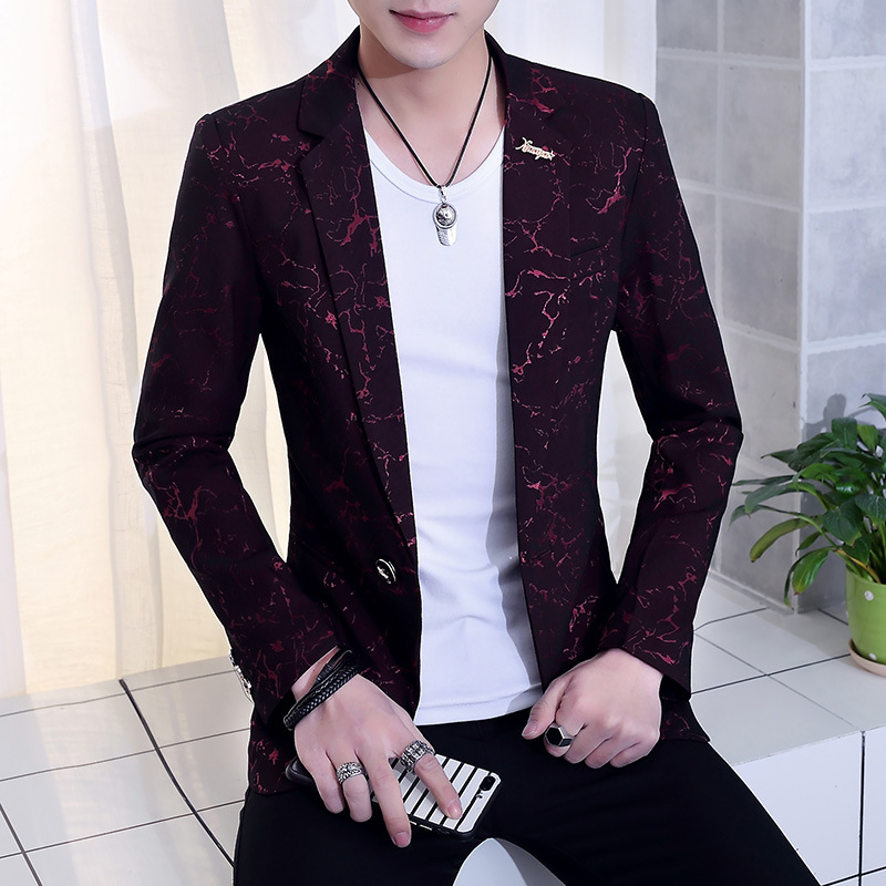 2020 Spring And Autumn Period And The New Men's Leisure Suit Jacquard Suits Young Cultivate One's Morality