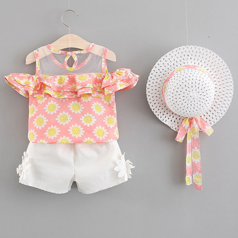 2018 Summer Kids Clohting Fashion Printing Wooden Ears Top + White Shorts + Hat 3Pcs Girls Clothes Set For Girls Clothes ...