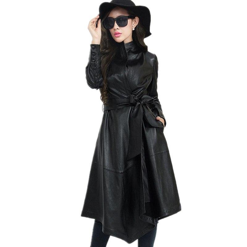 Autumn Pu Leather Trench Coat Plus Size Fashion Women Overcoat Long Windbreaker Elegant Lady Waistband Trench